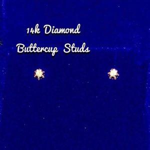 14k Diamond Studs Buttercups SALE